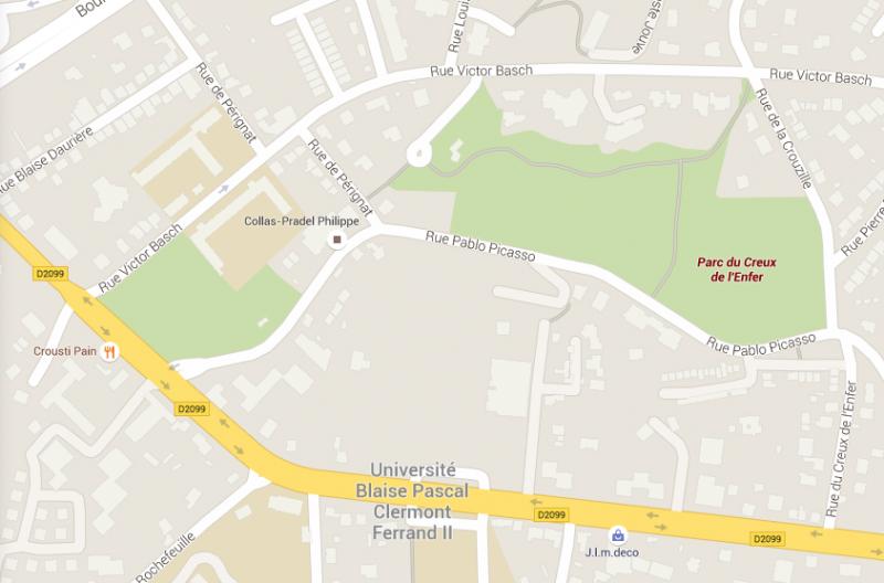 carte parc du creux de l'enfer Clermont-Ferrand